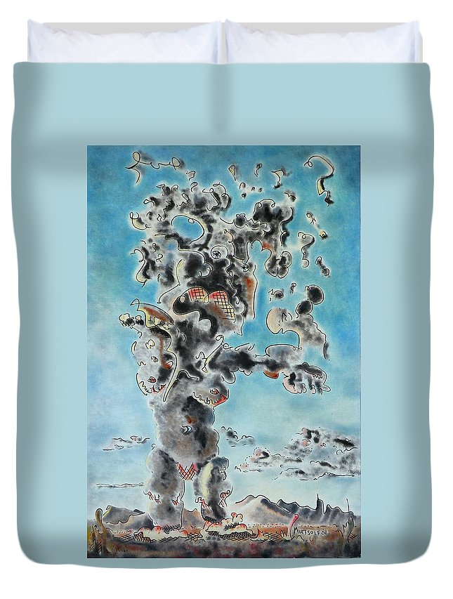 Surreal Duvet Cover featuring the painting Spectre by Dave Martsolf