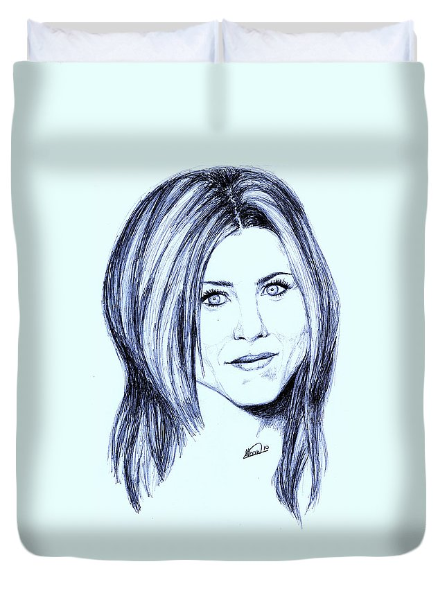 Portrait Duvet Cover featuring the drawing Speed Drawing Of Jennifer Aniston by Alban Dizdari