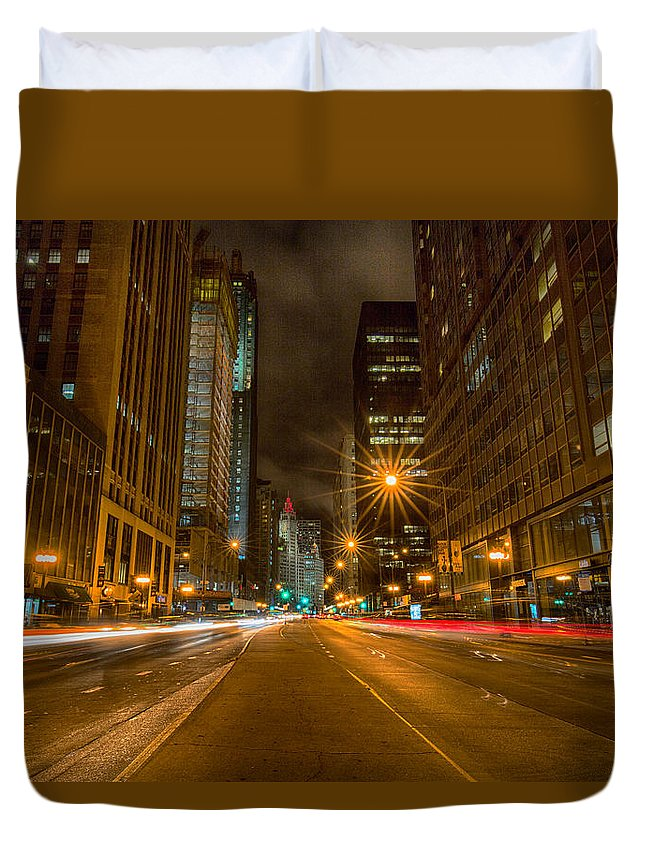 Cityscape Duvet Cover featuring the photograph Speed Of Night by Josh Baker