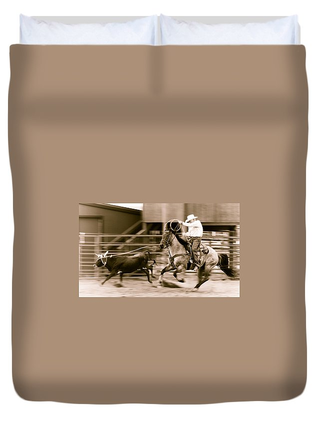 Rodeo Duvet Cover featuring the photograph Speed by Scott Sawyer