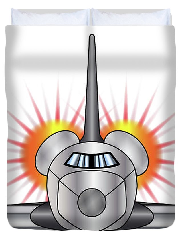 Space Duvet Cover featuring the digital art Speeding Space Shuttle by Bigalbaloo Stock