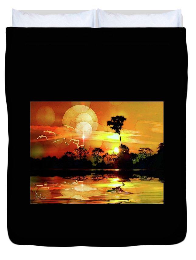 Landscape Duvet Cover featuring the digital art Spektrel Reflected 2 by Ombretta Lanari
