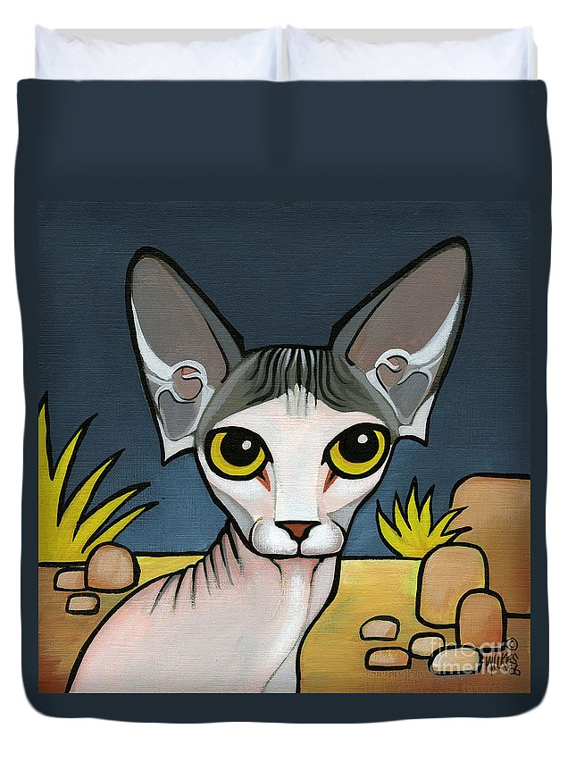 Sphinx Cat Duvet Cover featuring the painting Sphinx Cat by Leanne Wilkes