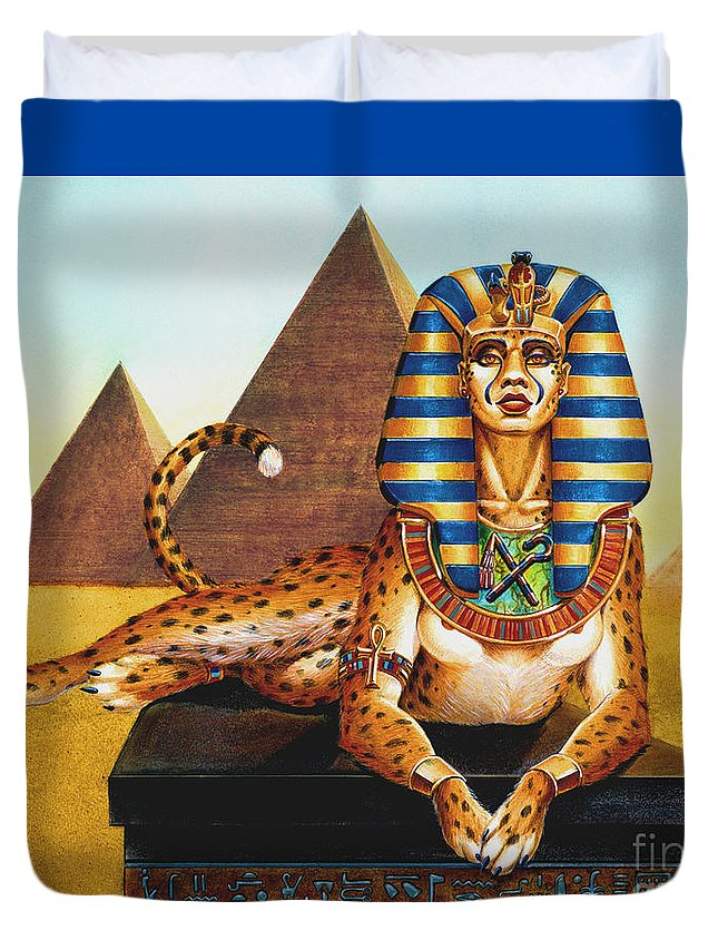 Cat Duvet Cover featuring the painting Sphinx On Plinth by Melissa A Benson