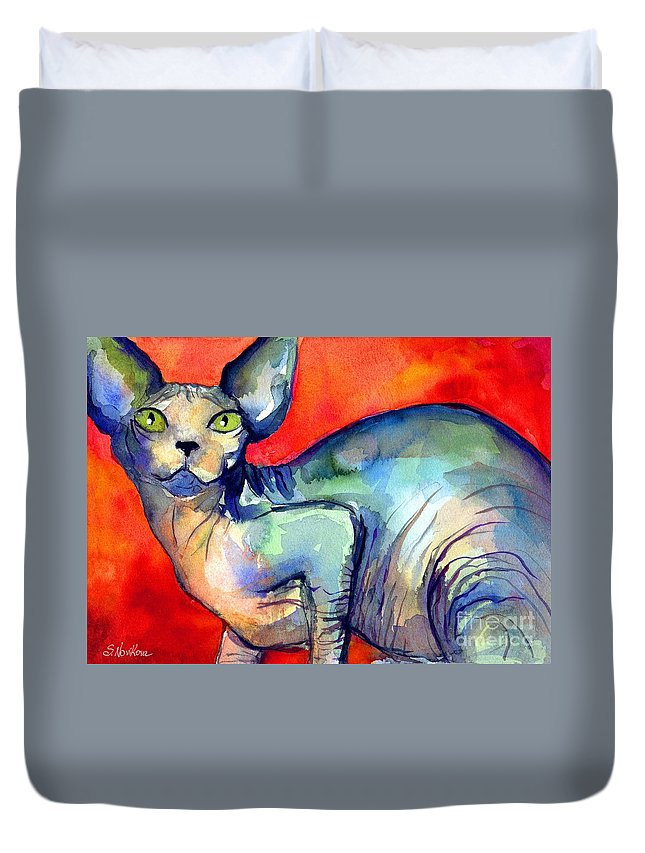 Sphynx Cat Painting Duvet Cover featuring the painting Sphynx Cat 6 Painting by Svetlana Novikova