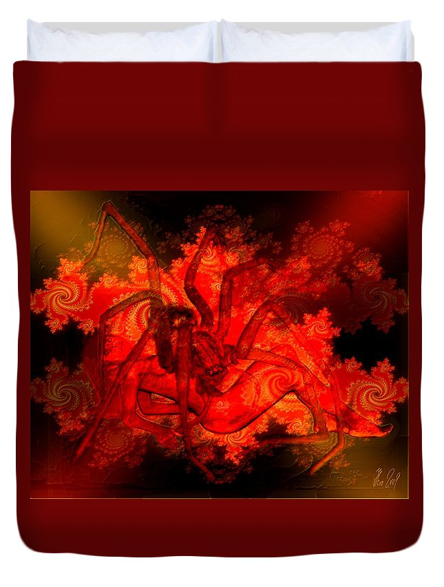 Spider Duvet Cover featuring the digital art Spider Catches Virgin In Space by Helmut Rottler