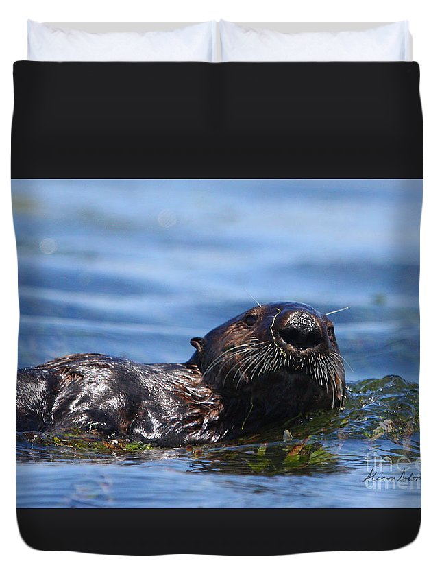 Otter Duvet Cover featuring the photograph Spikey by Alison Salome