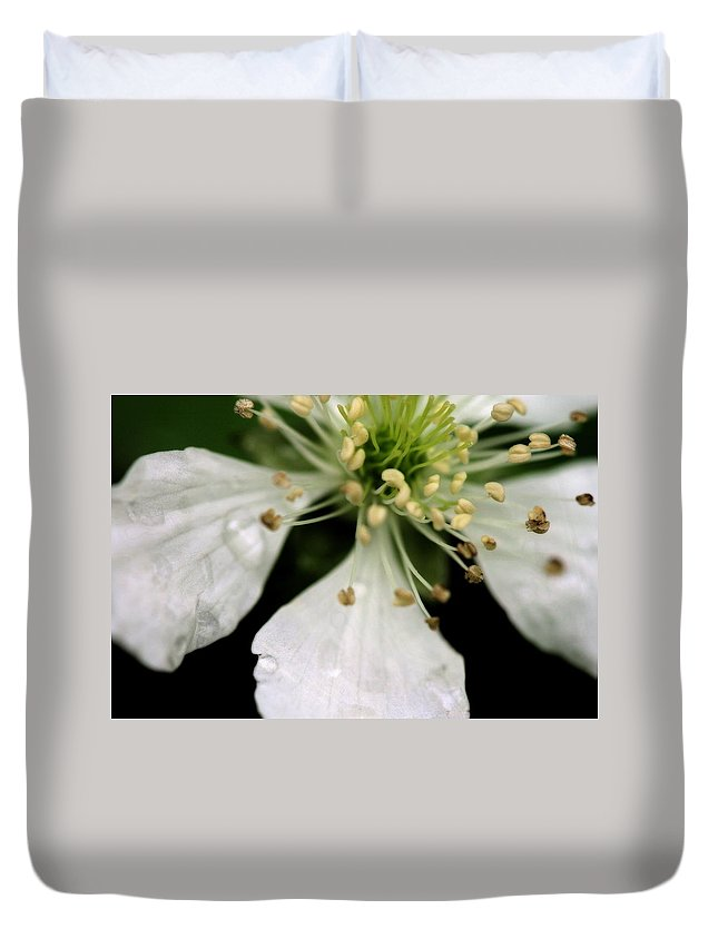 Flower Duvet Cover featuring the photograph Spindly Stamen by Angela Rath