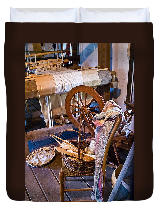 Spinning Duvet Cover featuring the photograph Spinning And Weaving by Douglas Barnett