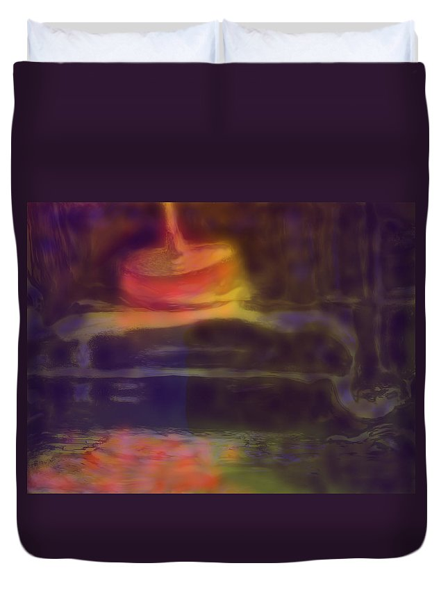 Abstract Duvet Cover featuring the digital art Spinning Light by Ian MacDonald