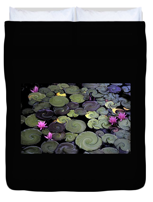 Lily Duvet Cover featuring the photograph Spinning Lilies by Wayne King
