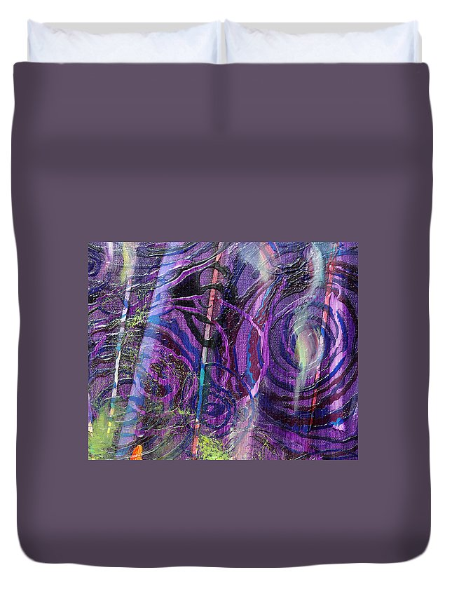 Psychedelic Duvet Cover featuring the painting Spiral Detail From Annunciation by Anne Cameron Cutri