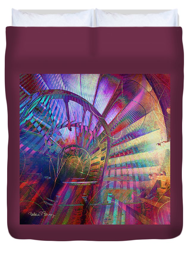 Spiral Duvet Cover featuring the digital art Spiral Staircase by Barbara Berney