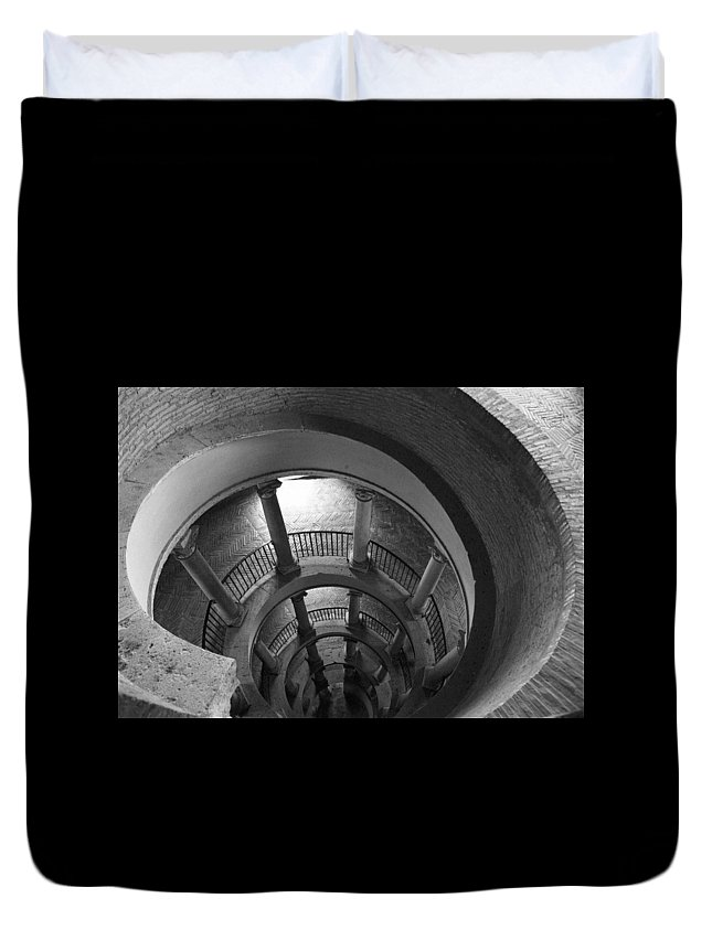 Spiral Staircase Duvet Cover featuring the photograph Spiral Staircase by Donna Corless