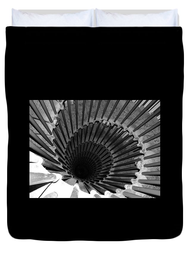Spiral Staircase Duvet Cover featuring the photograph Spiral Staircase In Lublijana by Donna Corless