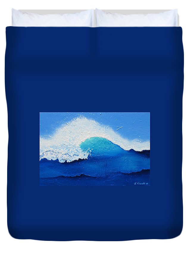 Contemporary Duvet Cover featuring the painting Spiral Wave by Jaison Cianelli