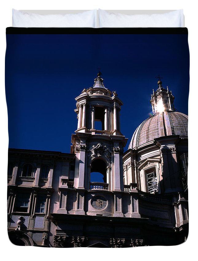 St Agnese In Agone Duvet Cover featuring the photograph Spire And Cupola St Agnese In Agone Piazza Navona Rome Italy by Michael Walters