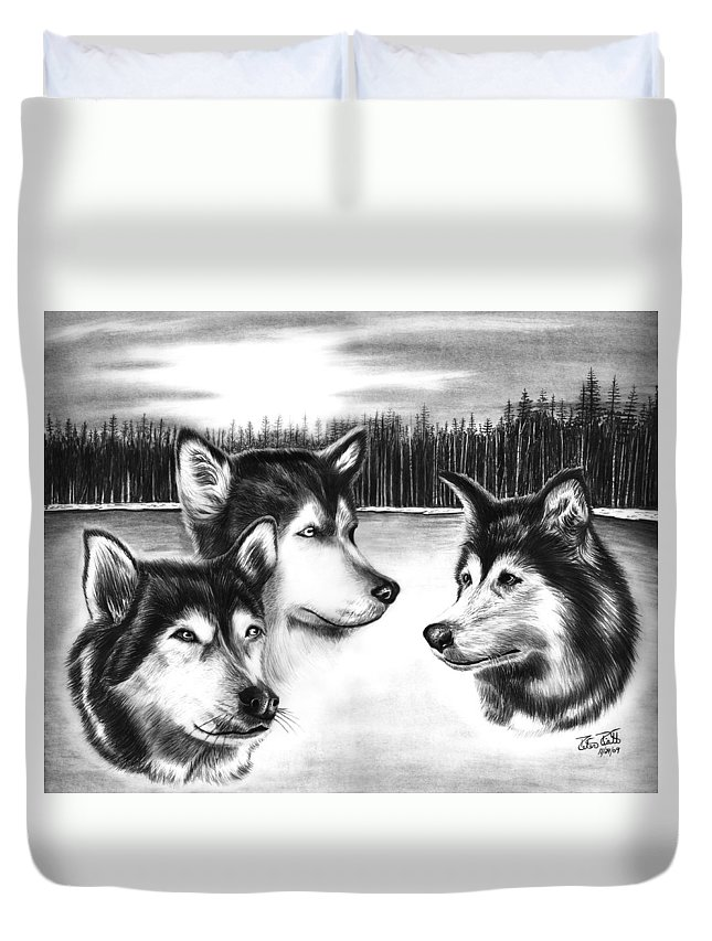 Spirit Guides Duvet Cover featuring the drawing Spirit Guides by Peter Piatt