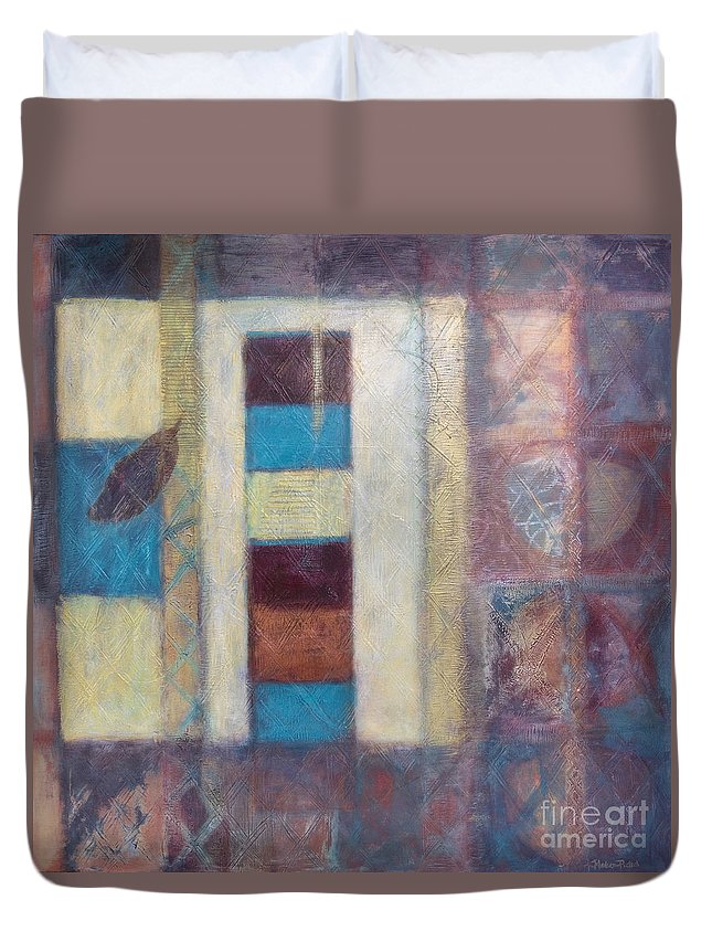 Spiritual Duvet Cover featuring the painting Spirit Of Gold - States Of Being by Kerryn Madsen- Pietsch