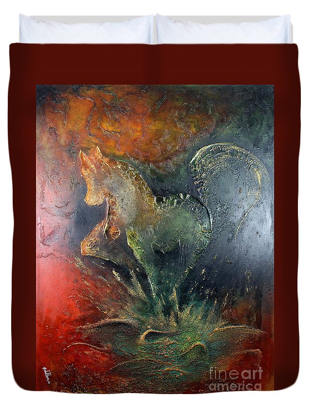 Horse Duvet Cover featuring the painting Spirit Of Mustang by Farzali Babekhan