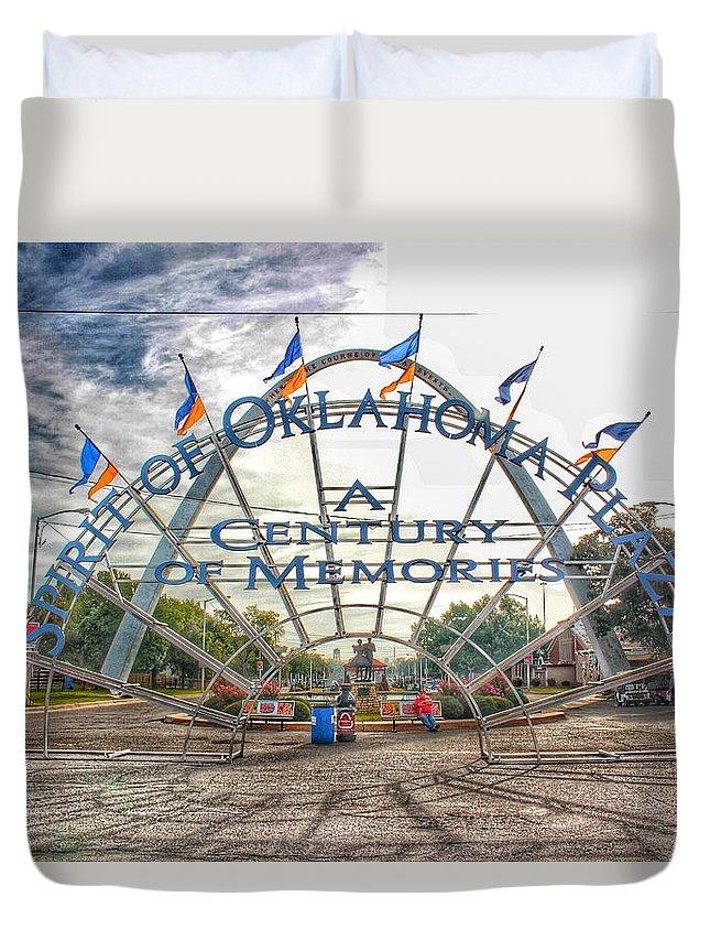 Spirit Of Oklahoma Plaza Duvet Cover featuring the photograph Spirit Of Oklahoma Plaza by Buck Buchanan