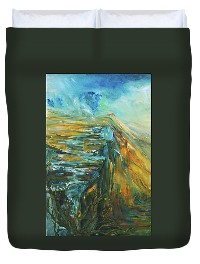Bison Duvet Cover featuring the painting Spirit Of The Jump by Jennifer Christenson