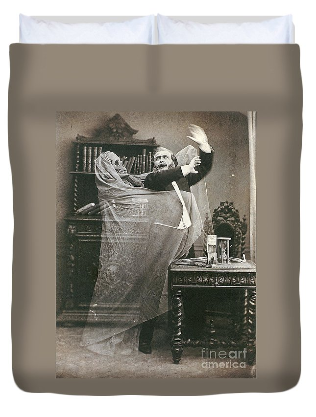 1863 Duvet Cover featuring the photograph Spirit Photograph, 1863 by Granger