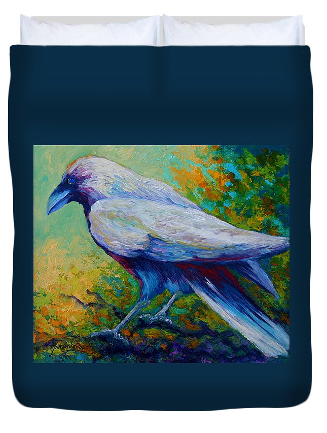 Crows Duvet Cover featuring the painting Spirit Raven by Marion Rose