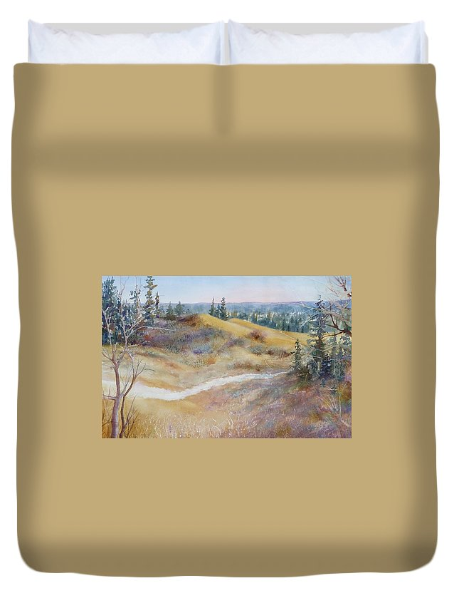 Landscape Duvet Cover featuring the painting Spirit Sands by Ruth Kamenev