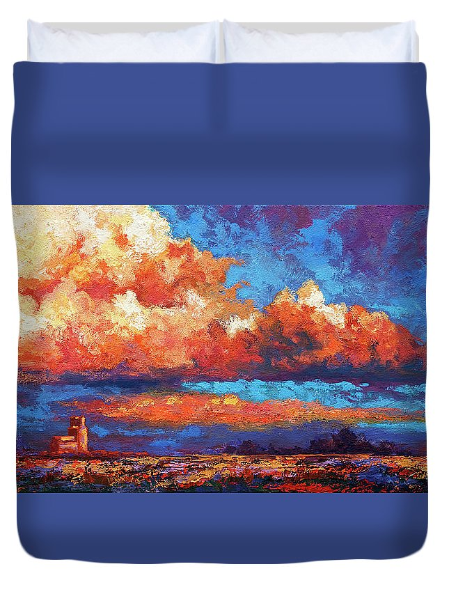 Landscape Duvet Cover featuring the painting Spirit Sky by Marion Rose