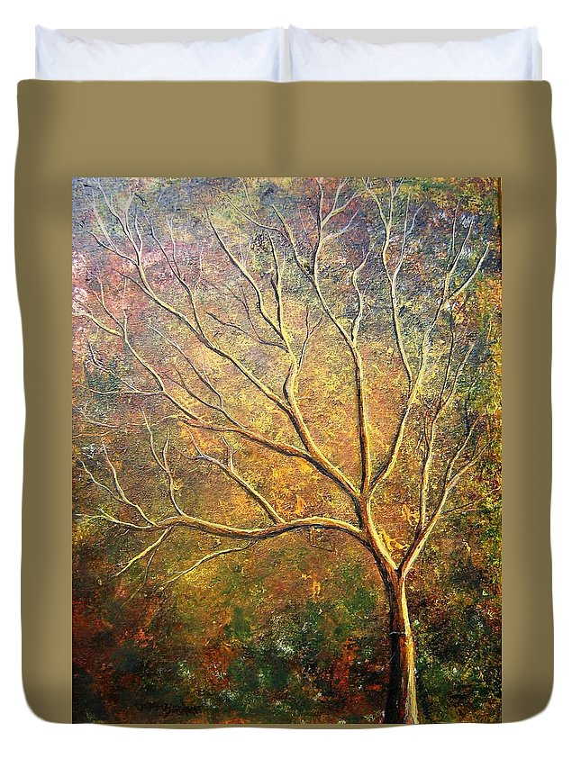 Duvet Cover featuring the painting Spirit Tree 5 by Tami Booher