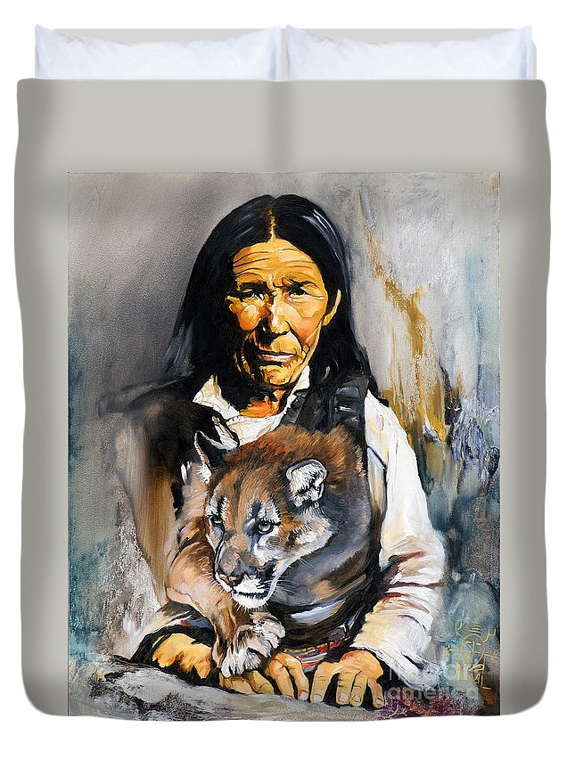 Spiritual Duvet Cover featuring the painting Spirit Within by J W Baker