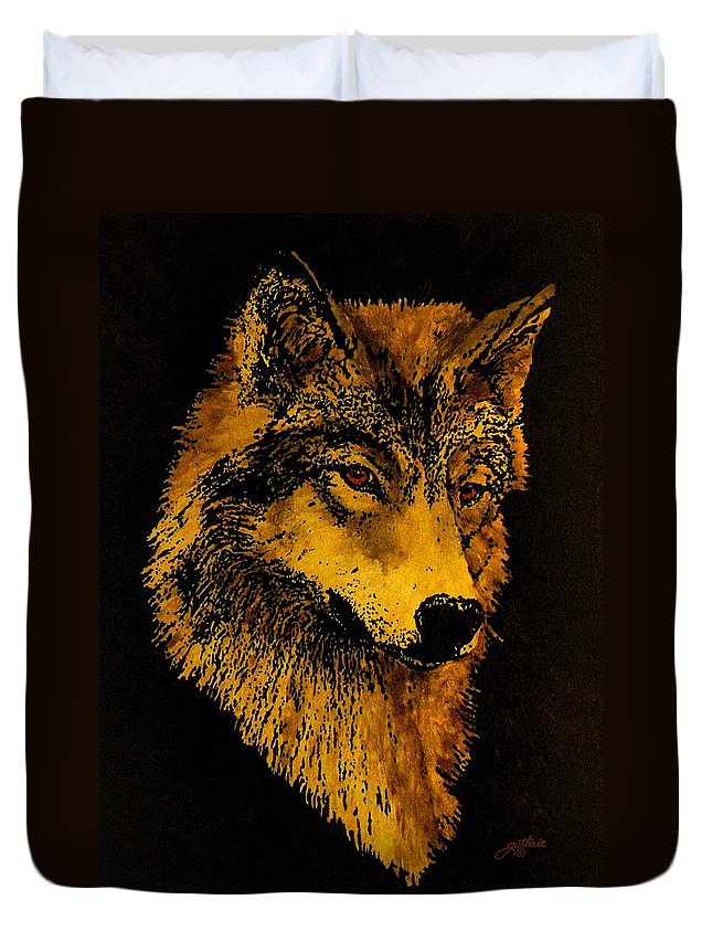 Wolf Duvet Cover featuring the painting Spirit Wolf by John Guthrie