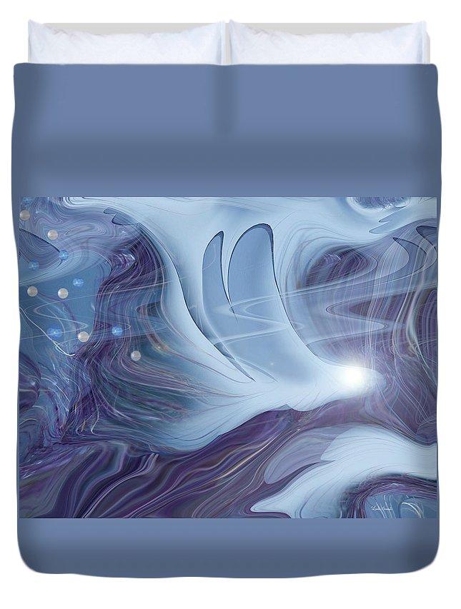 Abstract Duvet Cover featuring the digital art Spirit World by Linda Sannuti