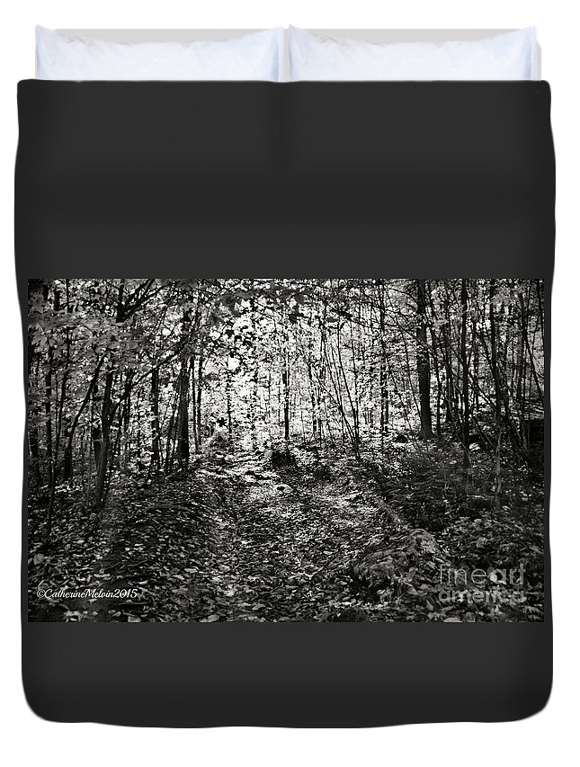 Black And White Photography Duvet Cover featuring the photograph Spirited Away by Catherine Melvin
