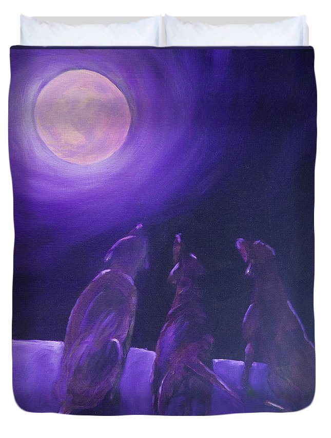 Labrador Retriever Duvet Cover featuring the painting Spirits In The Night by Roger Wedegis