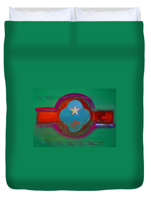 Star Duvet Cover featuring the painting Spiritual Green by Charles Stuart