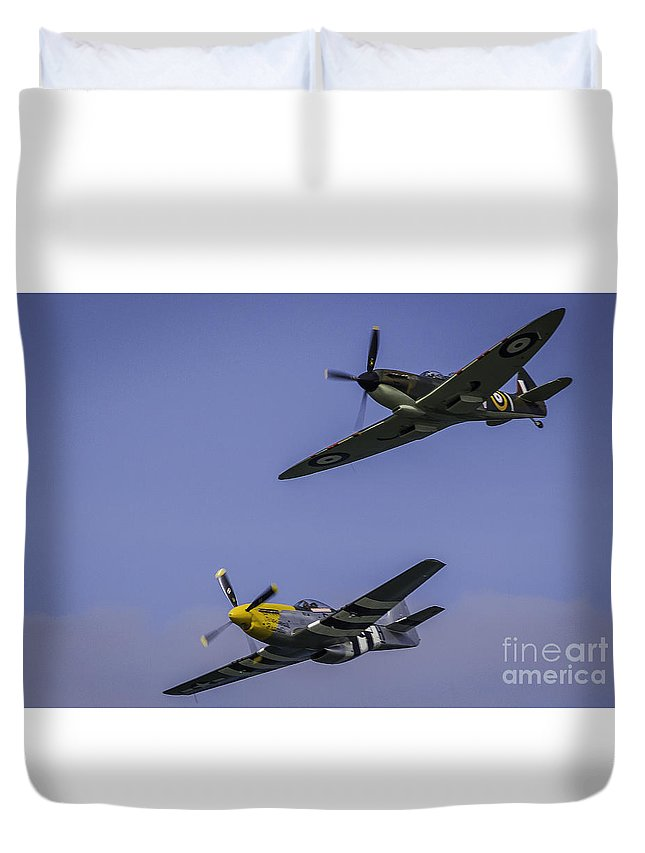 Aeroplane Duvet Cover featuring the photograph Spitfire And Mustang by Alex Millar