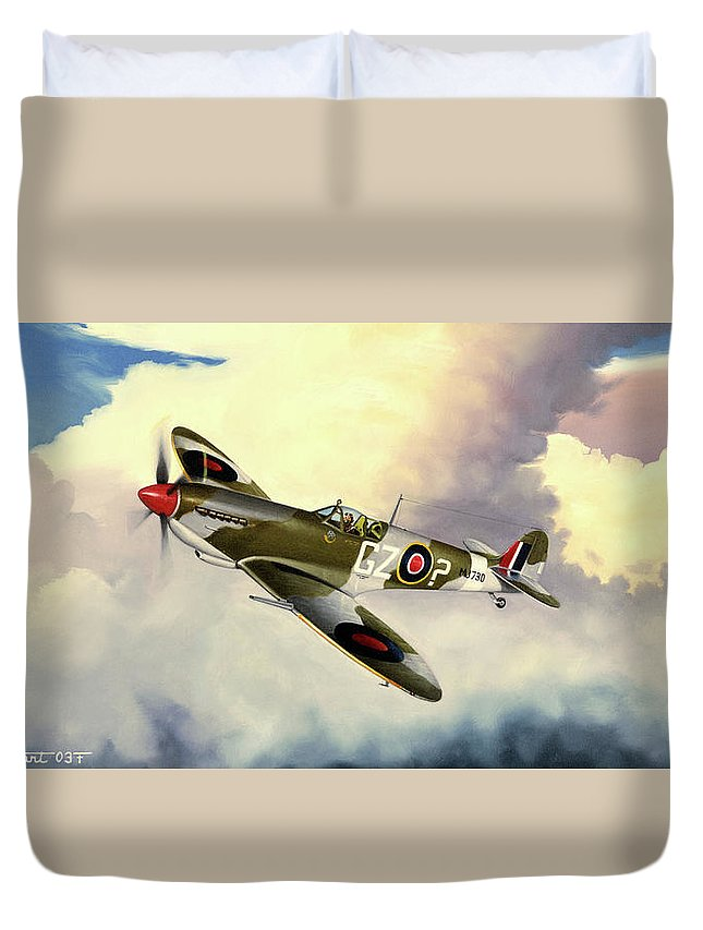 Military Duvet Cover featuring the painting Spitfire by Marc Stewart