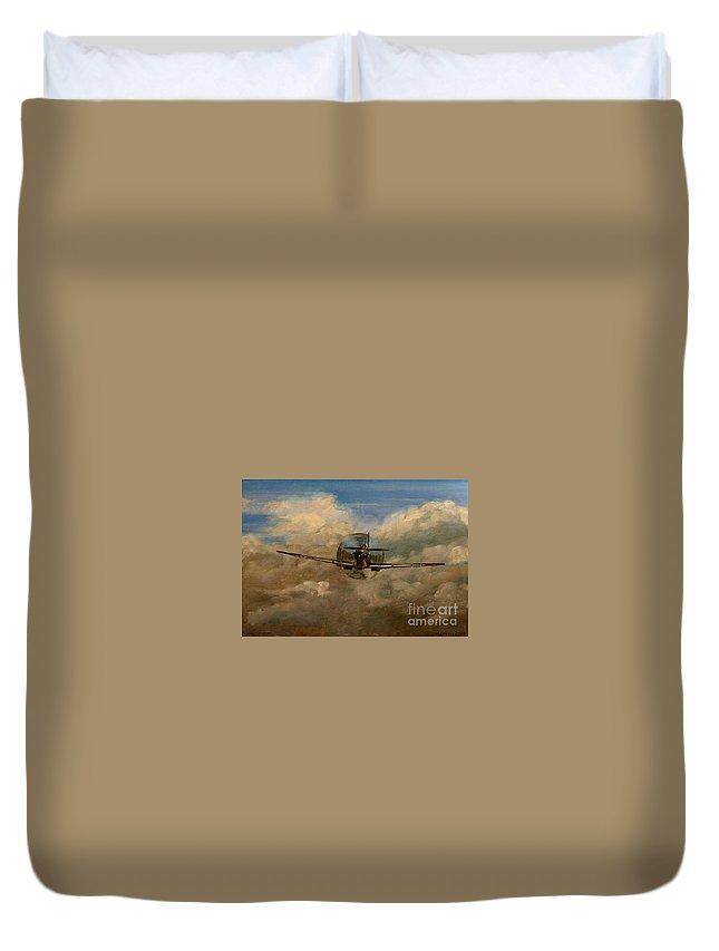 Spitfire Duvet Cover featuring the painting Spitfire Mk19 1945 Warbird - Dedicated To My Closest Friend Melody Lasola 08 08 83 - 25 10 09 by Richard John Holden RA