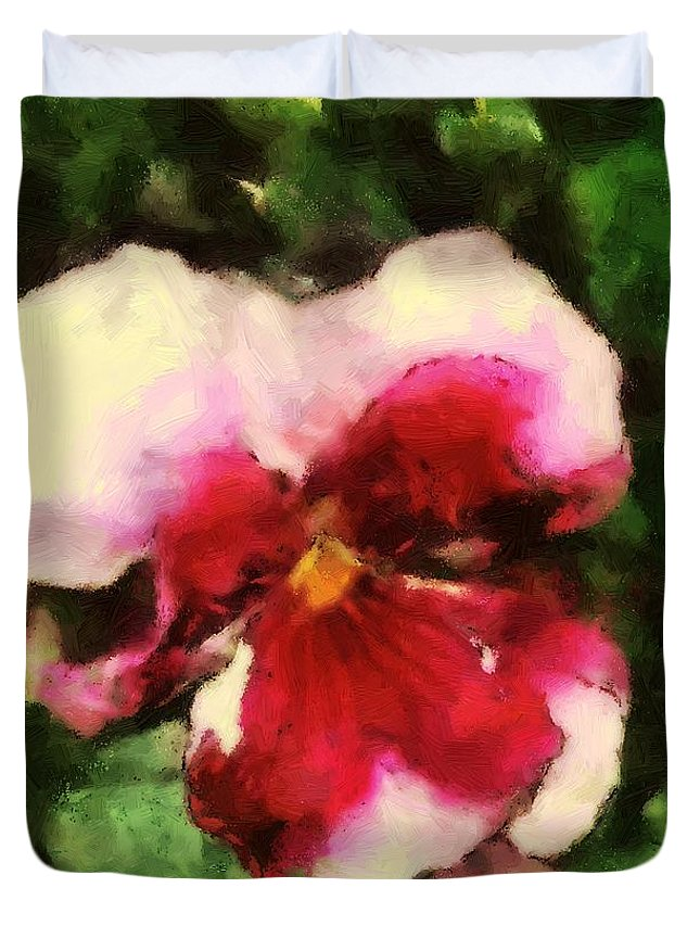 Lower Duvet Cover featuring the painting Splash Cerise by RC DeWinter