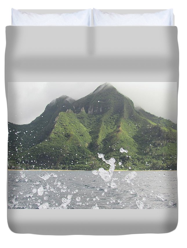 Duvet Cover featuring the photograph Splash North Shore Kauai by Ryan Crandall
