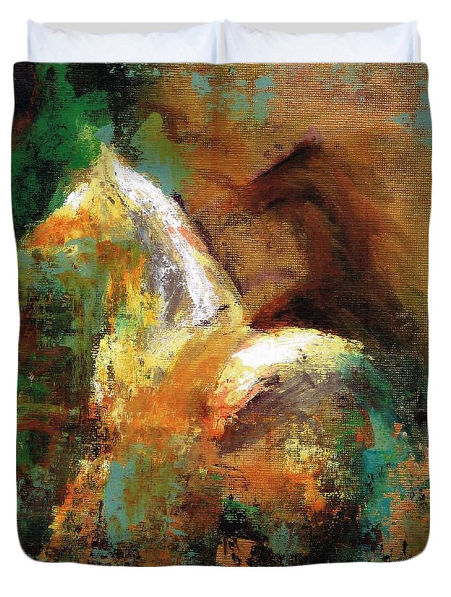 Abstract Horse Duvet Cover featuring the painting Splash Of White by Frances Marino