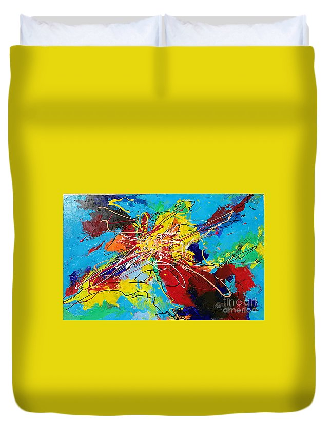 Original Duvet Cover featuring the painting Splash by Yueer Xu