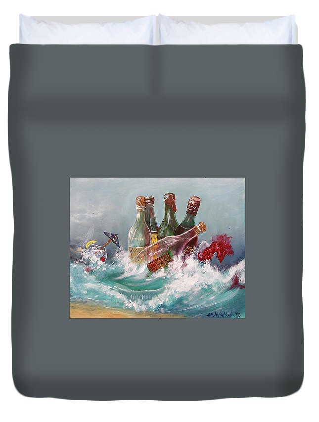 Splattered Wine Bottle Alcohol Drink Red Wave Ocean Water Abstract Painting Print Splash Seascape White Acrylic Swimming Wine Cold Duvet Cover featuring the painting Splattered Wine by Miroslaw Chelchowski