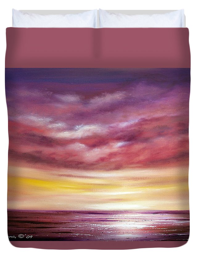 Sunset Duvet Cover featuring the painting Splendid by Gina De Gorna