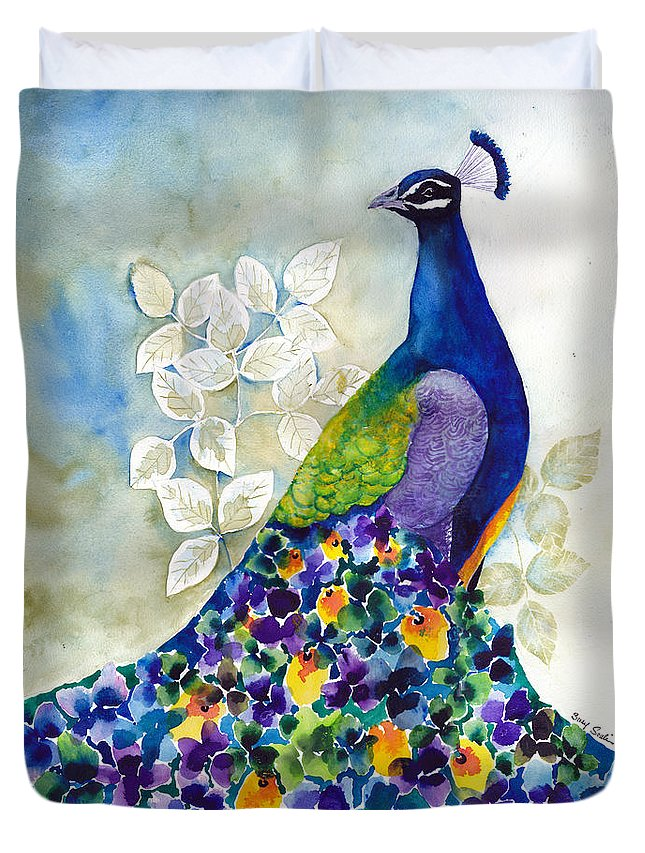 Peacock Duvet Cover featuring the painting Splendid by Susy Soulies