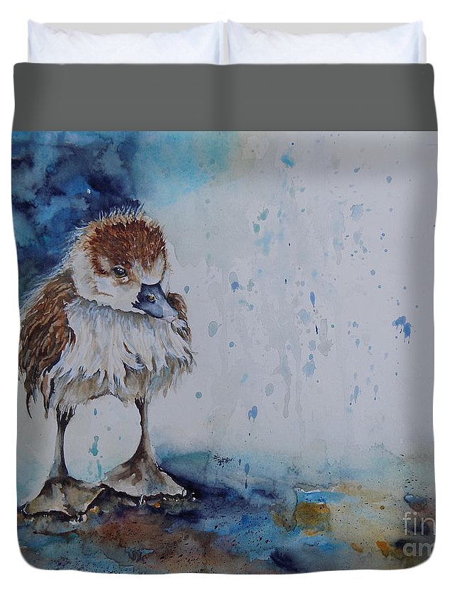 Duck Duvet Cover featuring the painting Splish Splash by Donna Hope