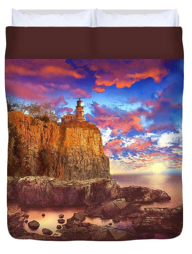 Lighthouse Duvet Cover featuring the painting Split Rock Lighthouse by Bekim Art
