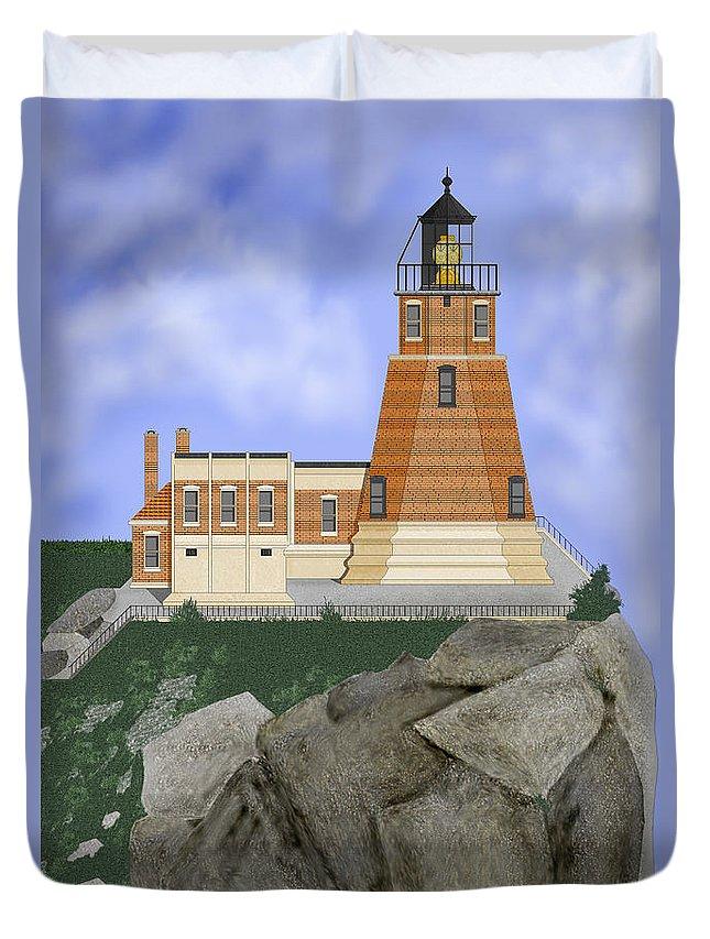 Split-rock Lighthouse Duvet Cover featuring the painting Split Rock Lighthouse on the Great Lakes by Anne Norskog